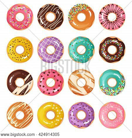Colorful Donuts. Cartoon Glazed Desserts Decorated With Chocolate And Confectionery. Isolated Sweet