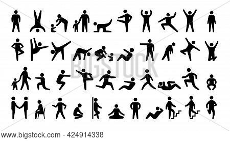 People Black Icons. Stickman Persons. Human Actions. Men And Women In Various Poses. Minimal Pose Si