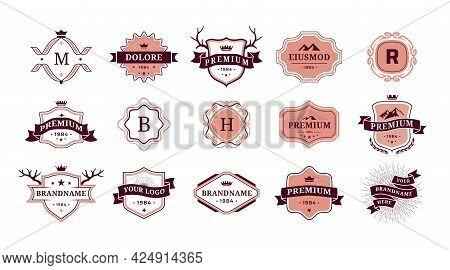 Vintage Ornamental Logo. Retro Badges For Brand Identity. Premium Quality Stickers. Decorative Flour