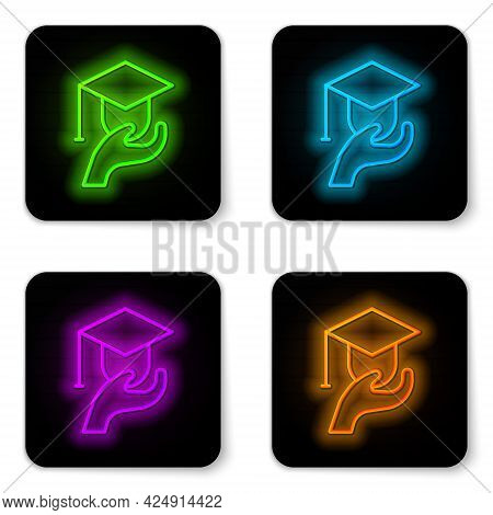 Glowing Neon Line Education Grant Icon Isolated On White Background. Tuition Fee, Financial Educatio