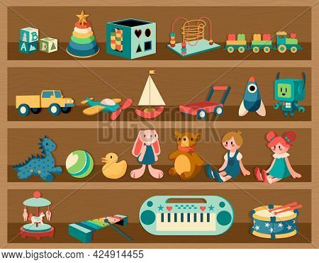 Toys On Shelves. Cartoon Wooden Rack With Dolls And Musical Instruments. Plush Animals Or Transport.