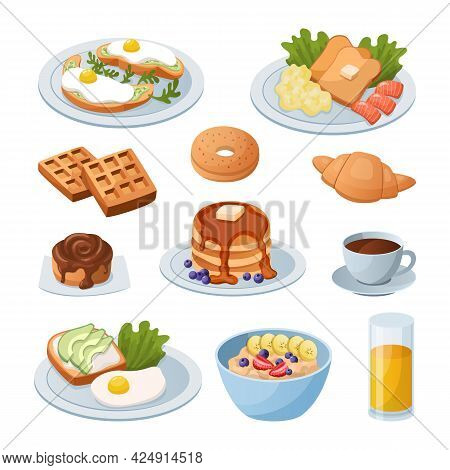 Morning Food. Cartoon Breakfast Meals. Glass Of Juice And Toast With Scrambled Eggs. Cup Full Of Cof
