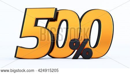 Five Hundred 500% Off On Sale. Gold Percent Isolated On White Background. 3d Render Of A Gold Five H