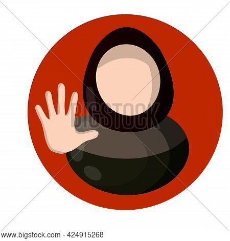 Arab Woman And Forbidding Palm Gesture. Sign To Stop. Social Flat Sign Icon For App. Women's Right.