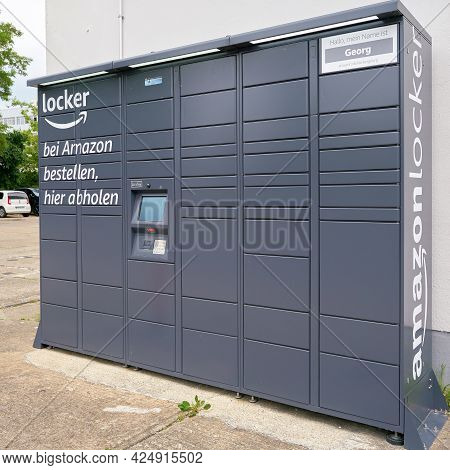 Magdeburg, Germany - June 15, 2021: Amazon Locker Pick-up Station With Lockers For Parcels From The