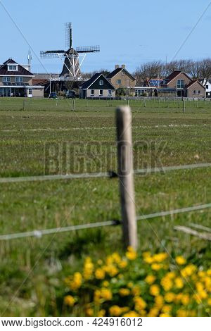 Wind Mill, Smock Mill, De Verwachting , The Expectation In Hollum, Dutch Island Ameland. In Foregrou