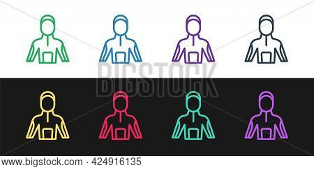 Set Line Wetsuit For Scuba Diving Icon Isolated On Black And White Background. Diving Underwater Equ