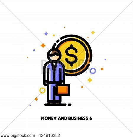 Icon Of Businessman With Briefcase On A Background Of Money For Leading Mutual Fund Investment Compa