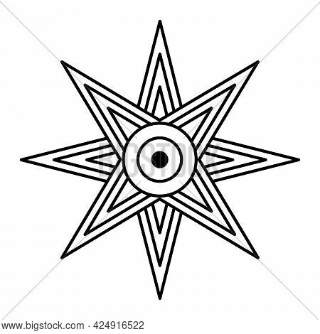 Star Of Ishtar Or Inanna, Also Known As The Star Of Venus, Usually Depicted With Eight Points. Symbo