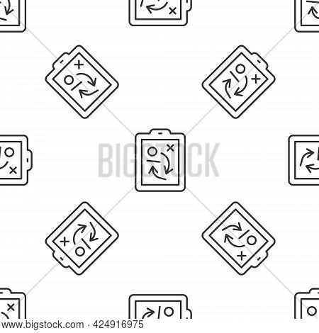 Grey Line Planning Strategy Concept Icon Isolated Seamless Pattern On White Background. Hockey Cup F