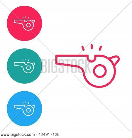 Red Line Whistle Icon Isolated On White Background. Referee Symbol. Fitness And Sport Sign. Set Icon