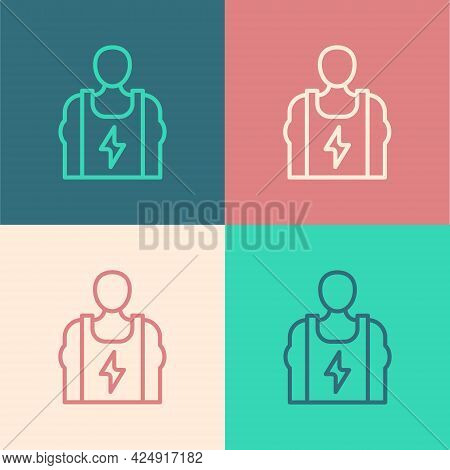Pop Art Line Bodybuilder Showing His Muscles Icon Isolated On Color Background. Fit Fitness Strength