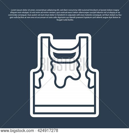 Blue Line Sweaty Sleeveless Sport T-shirt Icon Isolated On Blue Background. Vector