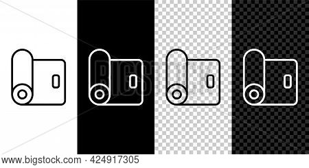Set Line Fitness Mat Roll Icon Isolated On Black And White, Transparent Background. Yoga Mat Rolled.