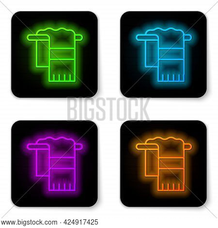 Glowing Neon Line Towel On Hanger Icon Isolated On White Background. Bathroom Towel Icon. Black Squa
