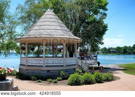 SKANEATELES, NEW YORK - 17 JUNE 2021: Gazebo in Clift Park on the shore of Skaneateles Lake.