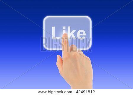 Woman hand uses like button