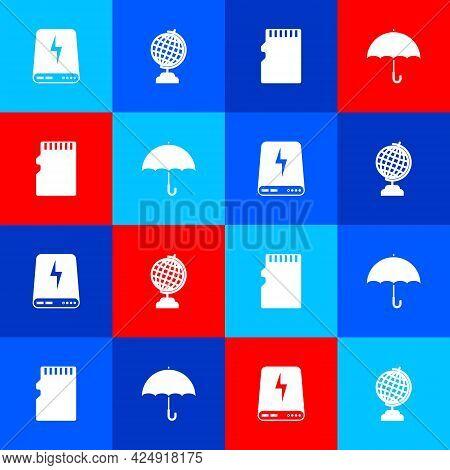 Set Power Bank, Earth Globe, Micro Sd Memory Card And Umbrella Icon. Vector