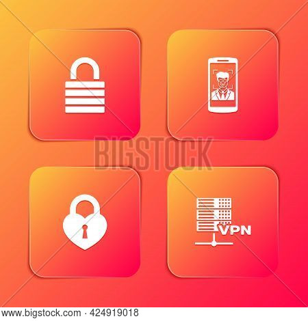 Set Lock, Mobile And Face Recognition, Castle In The Shape Of Heart And Server Vpn Icon. Vector