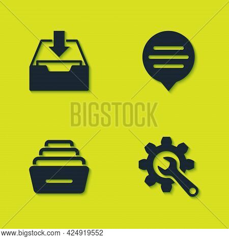 Set Download Inbox, Wrench And Gear, Drawer With Documents And Speech Bubble Chat Icon. Vector