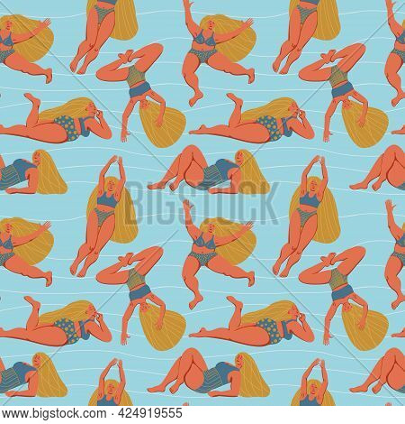 A Hand Drawn Seamless Pattern With Diverse Girls Having Fun. Textile Surface Design On Body Positivi