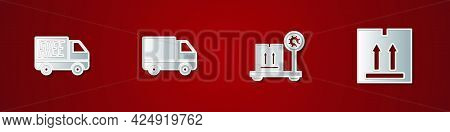 Set Free Delivery Service, Delivery Cargo Truck Vehicle, Scale With Cardboard Box And Cardboard Traf