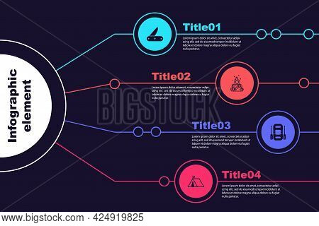 Set Swiss Army Knife, Campfire, Rafting Boat And Tourist Tent With Flag. Business Infographic Templa