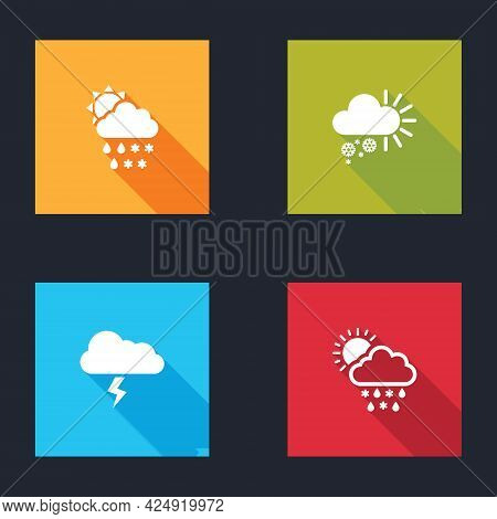 Set Cloud With Snow, Rain, Sun, Cloudy, Storm And Icon. Vector
