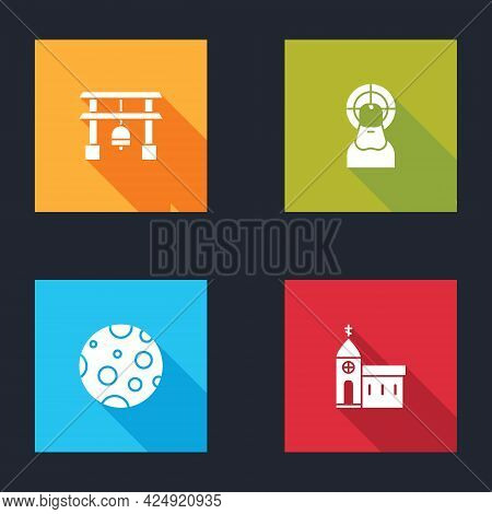 Set Japan Gate, Jesus Christ, Moon And Church Building Icon. Vector