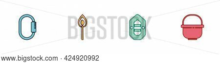 Set Carabiner, Burning Match With Fire, Rafting Boat And Camping Pot Icon. Vector