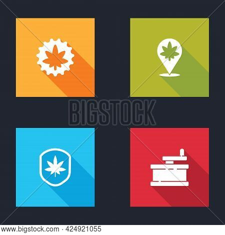 Set Marijuana Or Cannabis Leaf, Location And Marijuana, Shield And Manual Grinder Icon. Vector