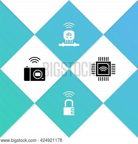 Set Smart Photo Camera, Safe Combination Lock, Sensor And Processor With Microcircuits Cpu Icon. Vec