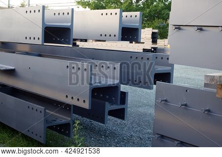 Construction Site Beams Girder Stack H-beam Metal Structure
