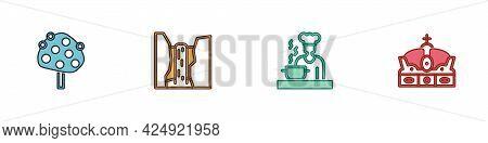 Set Orange Tree, Algar Waterfall, Spanish Cook And Crown Of Spain Icon. Vector