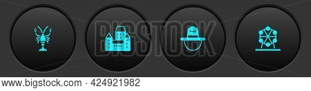 Set Lobster, Chateau Frontenac Hotel, Canadian Ranger And Ferris Wheel Icon. Vector