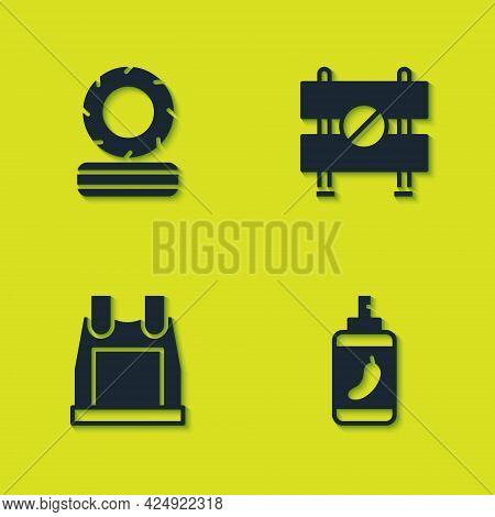 Set Lying Burning Tires, Pepper Spray, Bulletproof Vest And Road Barrier Icon. Vector