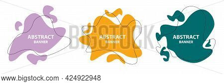 Set Of Abstract Modern Graphic Elements. Dynamical Colored Forms And Line. Gradient Abstract Banners