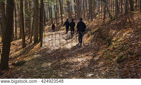 People Hiking In The Forest Footpath With Social Distancing.