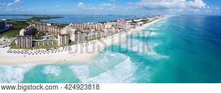 Cancun beach and The Royal Islander Resort panorama aerial view, Cancun, Quintana Roo QR, Mexico.