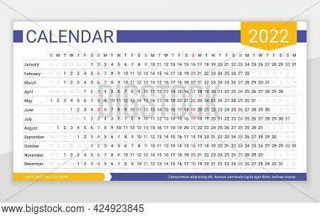 2022 Year Calendar. Linear Planner Template. Yearly Horizontal Calender. Vector. Week Starts Sunday.