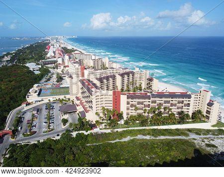 Cancun beach and The Royal Islander Resort aerial view, Cancun, Quintana Roo QR, Mexico.