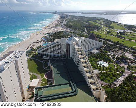 Cancun beach and Iberostar Selection Cancun Resort aerial view, Cancun, Quintana Roo QR, Mexico.