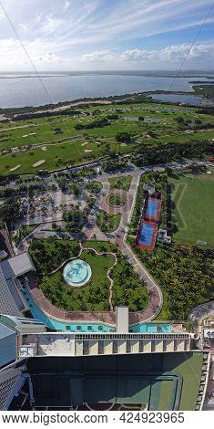 Cancun Iberostar golf club and Laguna Nichupte Lagoon aerial view, Cancun, Quintana Roo QR, Mexico.