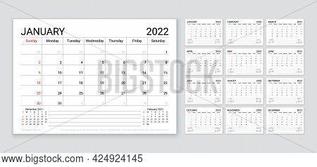 2022 Calendar. Planner Template For Year. Week Starts Sunday. Vector. Monthly Calender Organizer. Ta