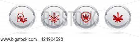 Set Line Medical Bottle With Marijuana, Marijuana Or Cannabis Leaf, Shield And And . Silver Circle B