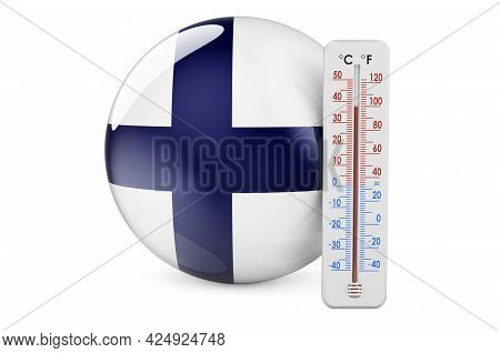 Thermometer With Finnish Flag. Heat In Finland Concept. 3d Rendering Isolated On White Background