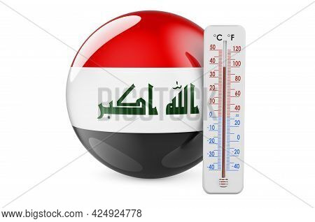 Thermometer With Iraqi Flag. Heat In Iraq Concept. 3d Rendering Isolated On White Background