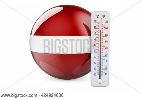 Thermometer With Latvian Flag. Heat In Latvia Concept. 3d Rendering Isolated On White Background