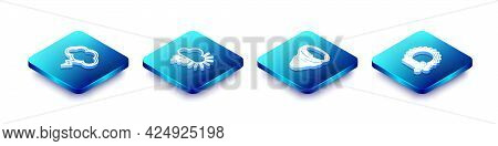 Set Isometric Line Storm, Cloudy With Snow, Tornado And Wind And Sun Icon. Vector