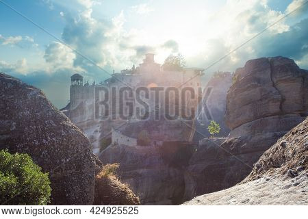 Summer At Meteora, Greece. Varlaam Monastery At Meteora
